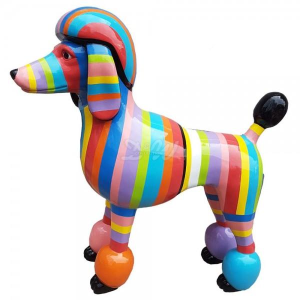"""Pudel Hund stehend mit Kunstbemalung """"bunte Streifen pastellfarben"""" (lebensgroß)"""