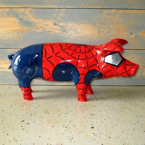 """Schwein mit Kunstbemalung """"Spiderman"""" (klein)"""