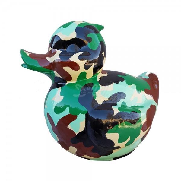 D&W Collection Deko Werbe Tier Figur Bade Ente Ducky Quietscheentchen Kunstbemalung Camouflage Tarnfleck Garten Dekoration Werbung