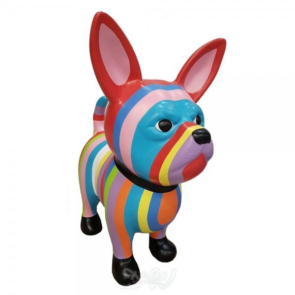 """Chihuahua Hund mit Kunstbemalung """"bunte Streifen in Pastellfarben"""" (groß)"""