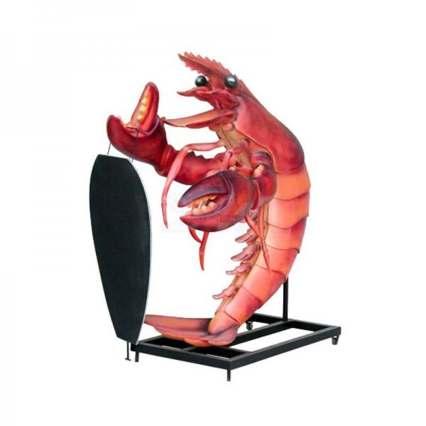 D&W Collection Gastro Deko Werbe Figur Gastronomie Hummer Lobster mit Werbetafel Restaurant Dekoration Werbung günstig kaufen