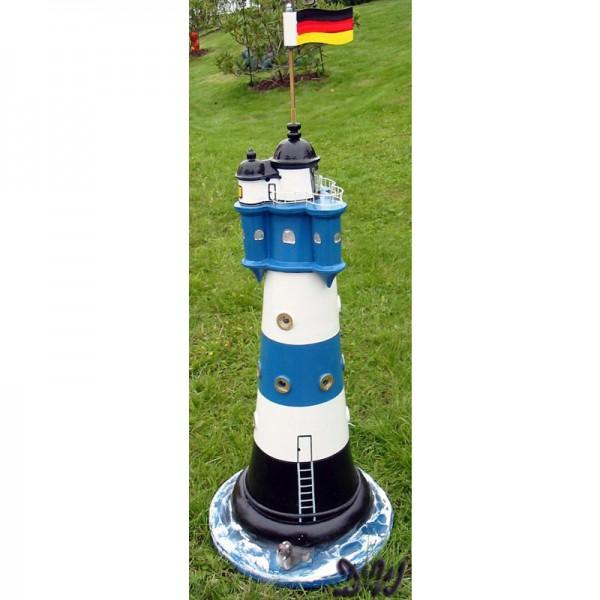 """Leuchtturm """"Blauer Sand"""" 75 cm blau-weiß - Fuß: 30 cm"""