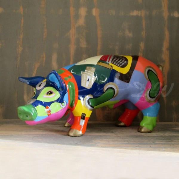"""Schwein mit Kunstbemalung """"Goldy"""" (mittel)"""