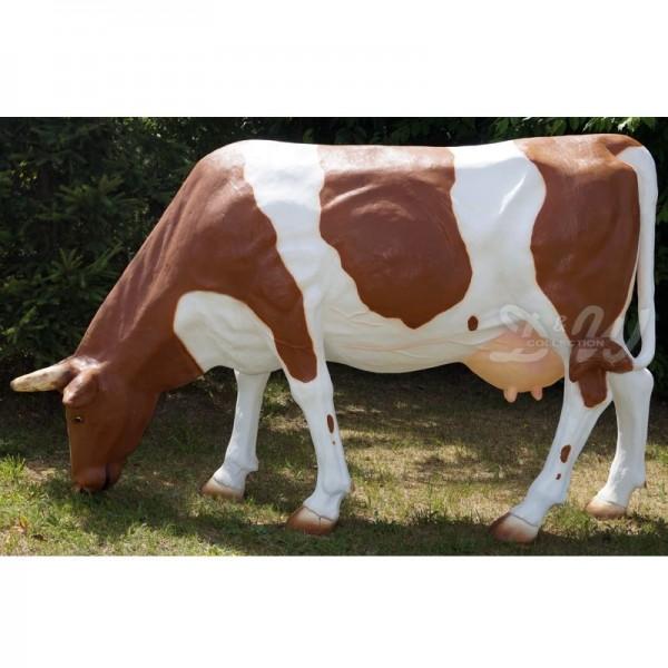 D&W Collection Deko Werbe Tier Figur Kuh Berta grasende Kopf unten Flecken braun weiß gefleckt Garten Dekoration günstig kaufen
