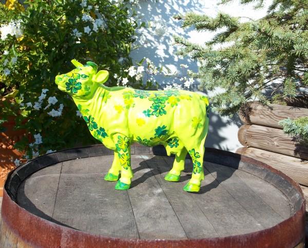 "Kuh mit Kunstbemalung ""Glücksklee"" grün (Mini)"