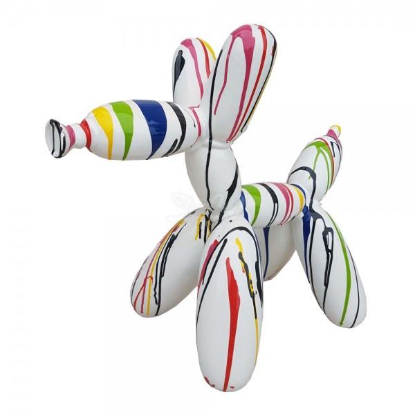 D&W Collection Deko Werbe Figur Hund Ballon Luftballon mit Kunstbemalung weiß mit bunten Farbläufern groß Dog Garten Dekoration Werbung Kunst günstig kaufen