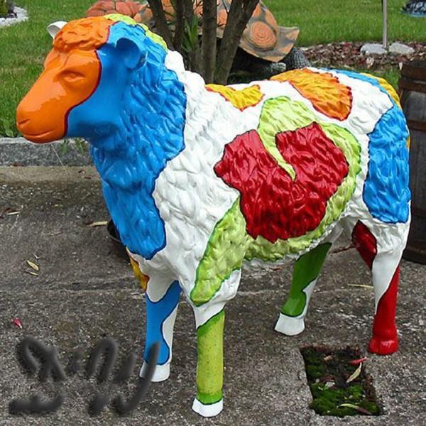 """Schaf mit Kunstbemalung """"Flower Power"""" strukturiert (groß)"""