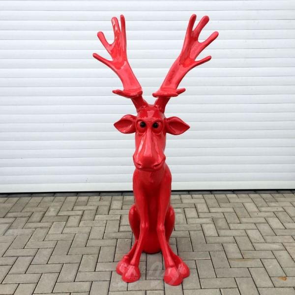 Elch / Rentier Rudi sitzend Weihnachten rot (groß)