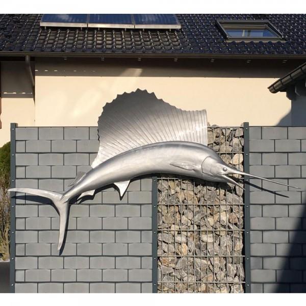 D&W Collection Deko Werbe Tier Figur Schwertfisch Segelfisch silber Lack Meer maritim Werbung Garten Dekoration günstig kaufen