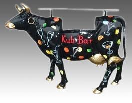 "Kuh mit Kunstbemalung ""Cocktails"" Kuhbar Theke (lebensgroß)"