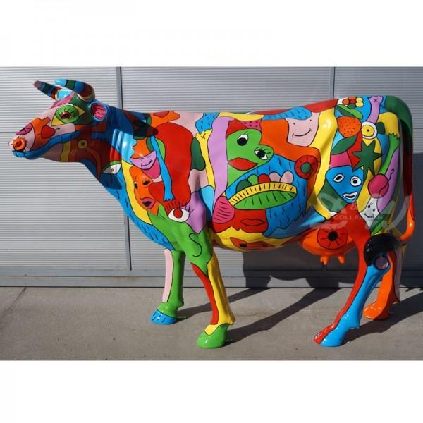 "Kuh mit Kunstbemalung ""Urban - buntes Leben"" (Lebensgroß)"