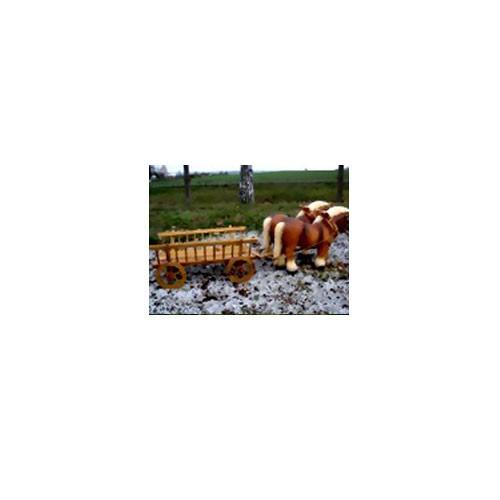 Pferdegespann - 2 Pferde mit Leiterwagen (klein)