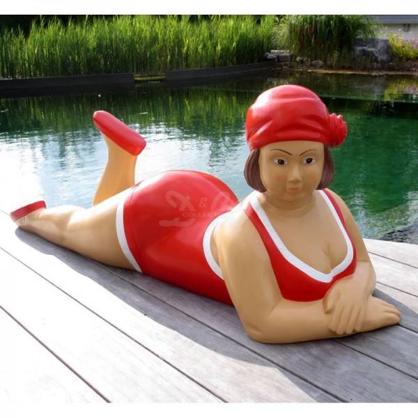 """Badende Schwimmerin """"Anni"""" liegend Badeanzug in Rot"""