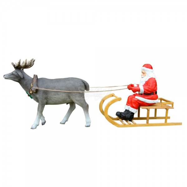 Weihnachtsmann im Schlitten (Holz) mit Rentier (lebensgroß)