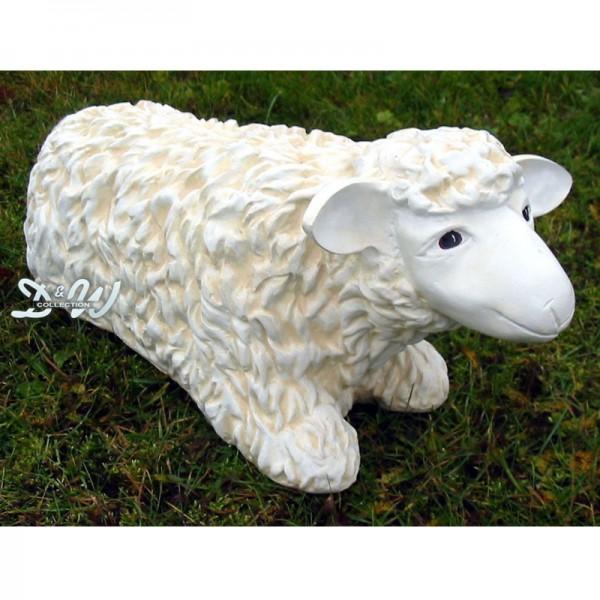 Schaf weiß strukturiert Patina (klein) liegend
