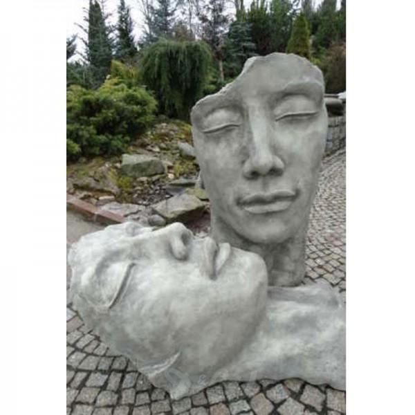 Gesichter-Set 2 Skulpturen Frau & Mann inkl. Platte zur Montage (groß)