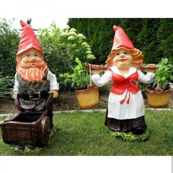 Zwergenpaar Gartenzwerg Helge & Helga zum Bepflanzen