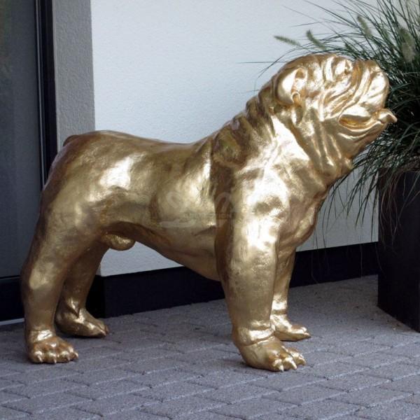 englische Bulldogge Hund Blattgold gold (groß)