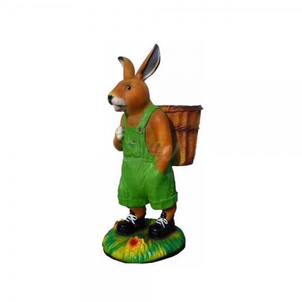 Osterhase mit Korb auf Rücken - Latzhose grün 110 cm (groß) Hase