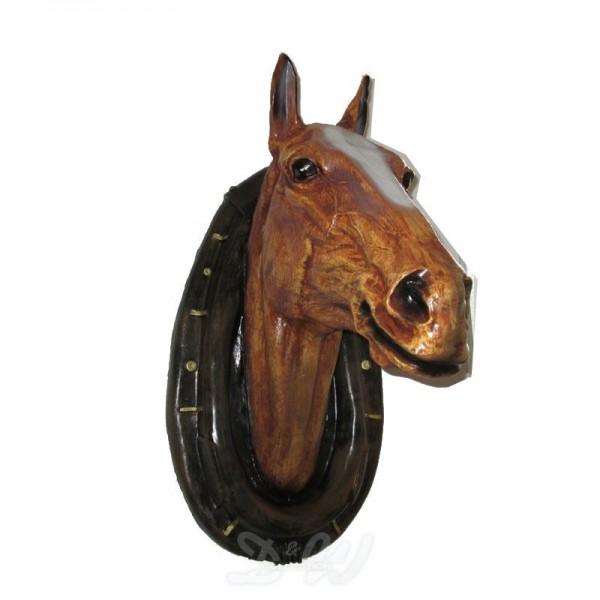 Pferde-Kopf braun mit Kummet (lebensgroß)