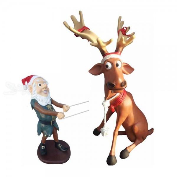 Weihnachtself zieht Elch / Rentier Rudi sitzend (groß)
