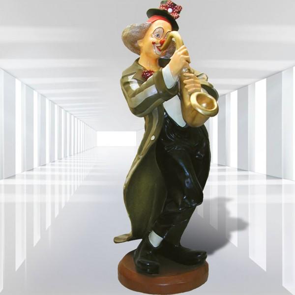 Clown stehend mit Saxophon (lebensgroß)