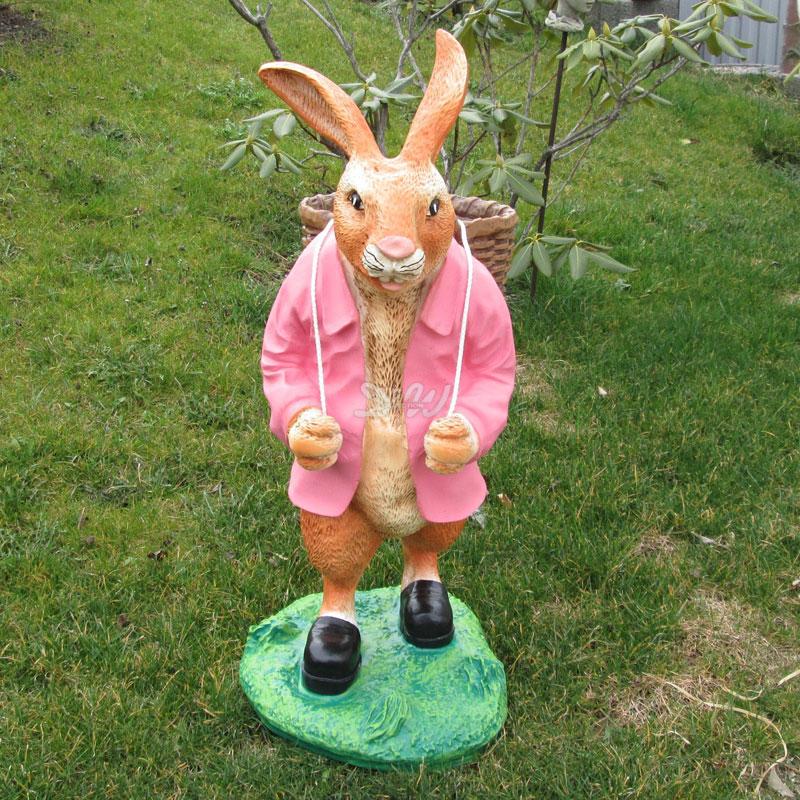 OSTERHASE stehend gelb mit KORB 73 cm Garten Deko Tier Figur Ostern Osterdeko