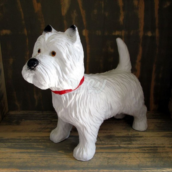 Westie West Highland White Terrier Hund stehend (lebensgroß)