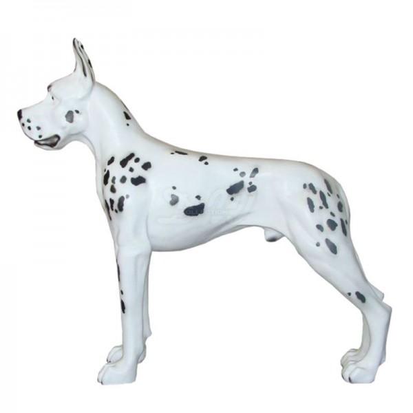 Deutsche Dogge Hund stehend weiß mit schwarzen Flecken (lebensgroß)