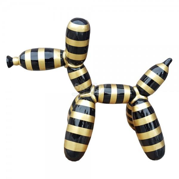 D&W Collection Deko Werbe Figur Hund Ballon Luftballon mit Kunstbemalung Streifen schwarz gold groß Dog Garten Dekoration Werbung Kunst günstig kaufen
