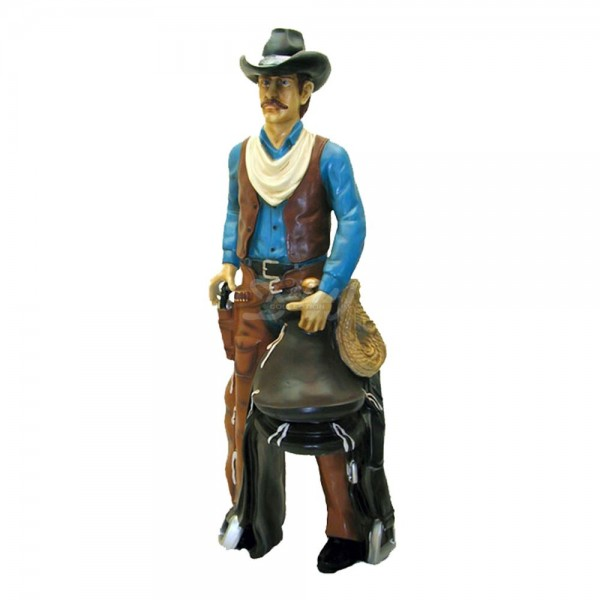 Cowboy mit Sattel und Colt (lebensgroß)