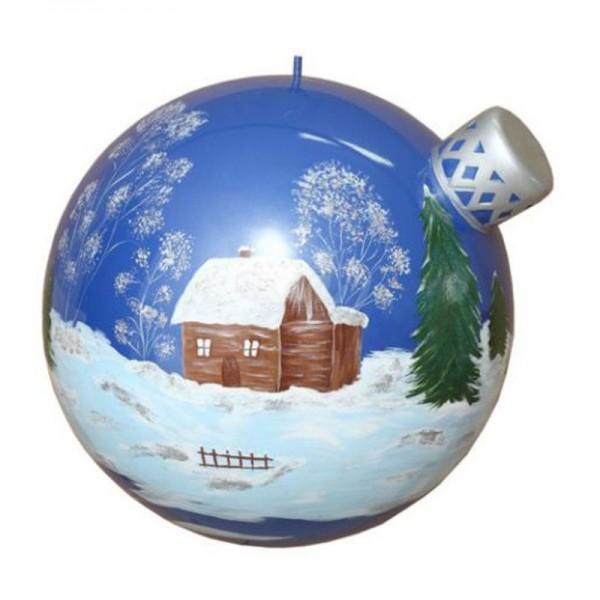 Weihnachtsbaum-Kugel 50 cm Durchmesser blau/silber mit Winterlandschaft zum Aufhängen
