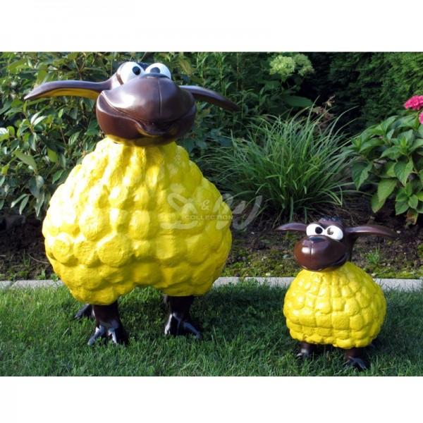 Wölkchen Schafe 2er Set gelb mit braunem Kopf