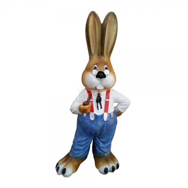 Osterhase mit blauer Hose, Hosenträgern und Brille (groß) Hemd weiß Hase