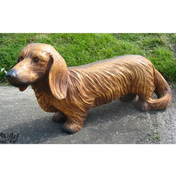 Dackel Langhaar Hund hell (lebensgroß)
