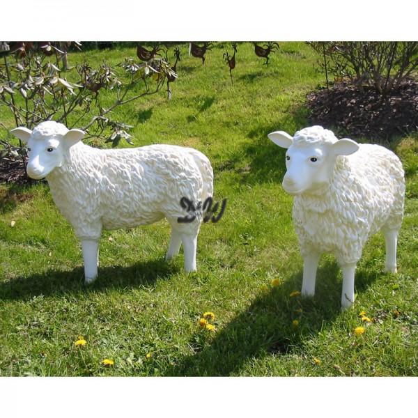 Schaffamilie weiß strukturiert Patina 2 Schafe Kopf gerade & Kopf zur Seite