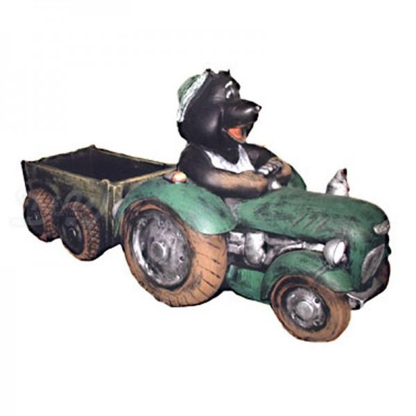 Maulwurf in Traktor mit Hänger zum Bepflanzen (groß)