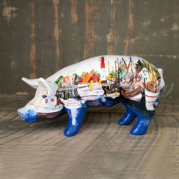 """Schwein mit Kunstbemalung """"Büsum"""" (mini)"""