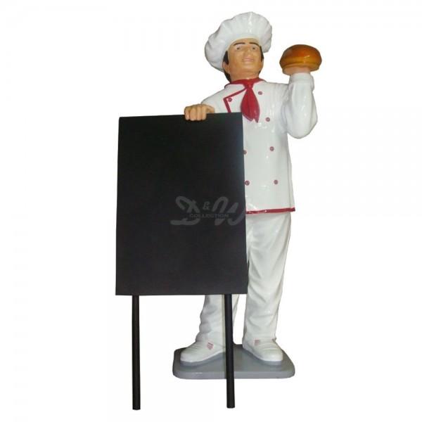 D&W Collection Gastro Deko Werbe Figur Gastronomie Bäcker Koch mit Brot und Werbetafel Dekoration Werbung günstig kaufen