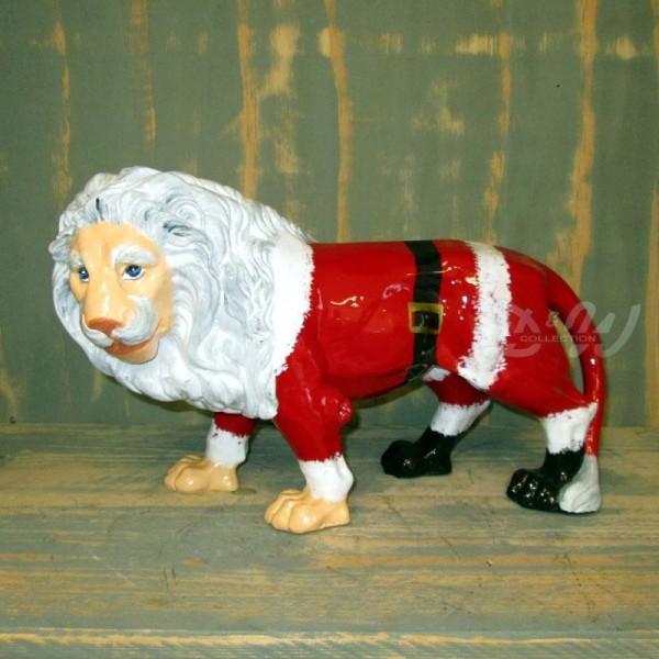 """Löwe mit Kunstbemalung """"Weihnachtsmann"""" (mittel)"""