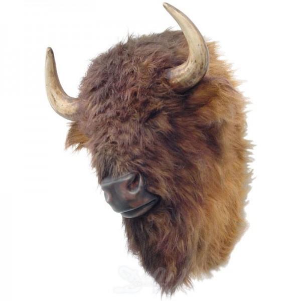 Büffel-Kopf (braun) mit Fellimitation (lebensgroß)