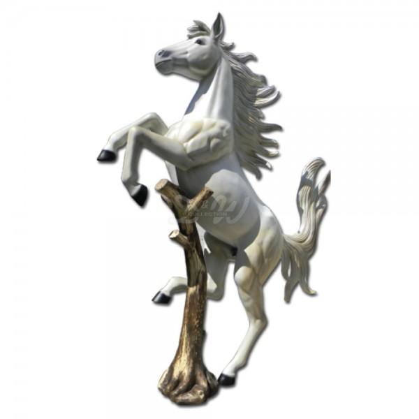 D&W Collection Deko Werbe Figur Pferd Horse Ferrari weiß steigend aufbäumend am Baumstamm Zoo Tierpark Bauernhof Garten Dekoration Werbung günstig kaufen