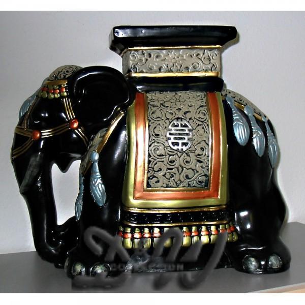 indischer Elefant mit Kunstbemalung als Blumenhocker (klein)