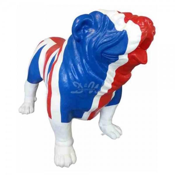 """englische Bulldogge Hund mit Kunstbemalung """"englische Flagge - UK"""" (überlebensgroß)"""