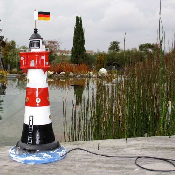 "Leuchtturm ""Roter Sand"" 75 cm rot-weiß - Fuß: 30 cm"