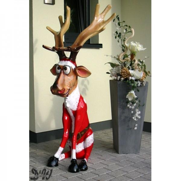 """Elch / Rentier Rudi sitzend Weihnachten mit Kunstbemalung """"Weihnachtsmann"""" (groß)"""