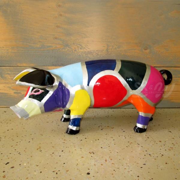 """Schwein mit Kunstbemalung """"Mosaik"""" (klein)"""