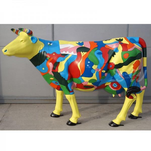 "Kuh mit Kunstbemalung ""abstrakte Kunst gelb"" (Lebensgroß)"