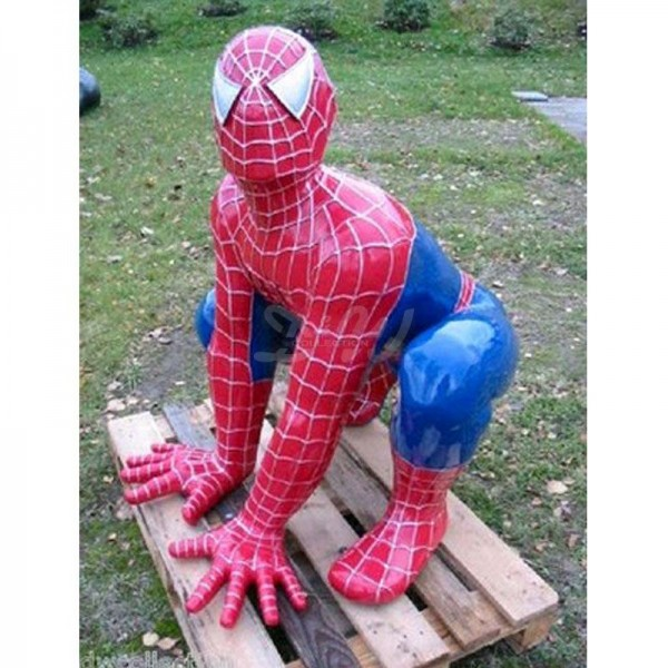 Spiderman hockend rot/blau (lebensgroß)