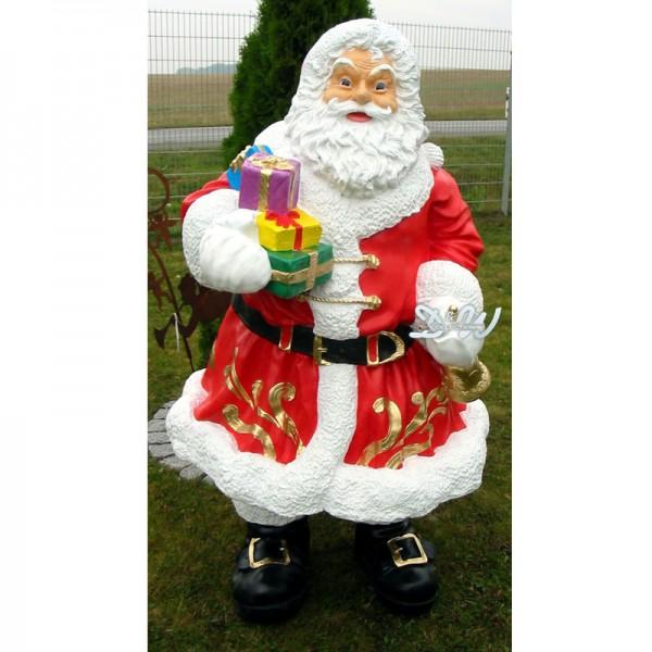 Weihnachtsmann stehend mit Geschenken und Glocke (groß)